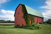 Big Skies Prints - Big Red Barn On Rt 227 Print by Gary Heller