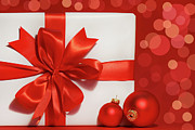 Special Gift Prints - Big red bow on gift  Print by Sandra Cunningham