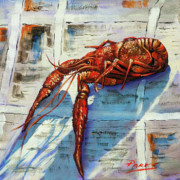 Crawfish Painting Posters - Big Red Poster by Dianne Parks