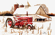 Winter Scenes Rural Scenes Mixed Media Posters - Big Red Poster by Larry Johnson