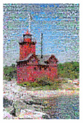 Lighthouses Digital Art Prints - Big Red Photomosaic Print by Michelle Calkins