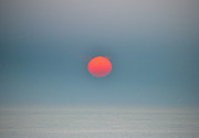 Sunset Photos - Big Red Sun - Sea Isle New Jersey by Bill Cannon