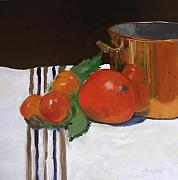Interior Still Life Painting Metal Prints - Big Red Tomato Metal Print by Barbara Andolsek