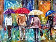 Rainy Street Painting Framed Prints - Big Red Umbrella Framed Print by Debra Hurd