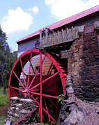 Old Mill Of Guilford Posters - Big Red Wheel Poster by Sandi OReilly
