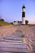 Moon Framed Prints - Big Sable Point Lighthouse Framed Print by Adam Romanowicz