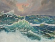 Stormy Pastels - Big Seas by Barbara Keel