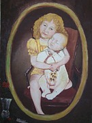 Warm Colors Paintings - Big sister by Rhonda Jewell