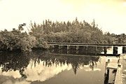 Streetscenes Photos - BIG SKY AND DOCK ON THE RIVER in SEPIA by Rob Hans