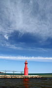 Beauty Mark Framed Prints - Big Sky Over Algoma Lighthouse Framed Print by Mark J Seefeldt