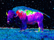 Bison Digital Art Metal Prints - Big Snow Buffalo Metal Print by David Lee Thompson
