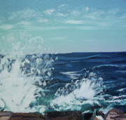 Stella Sherman Art - Big Splash at Schoodic Point by Stella Sherman