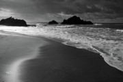Big Sur Beach Framed Prints - Big Sur Black and White Framed Print by Pierre Leclerc