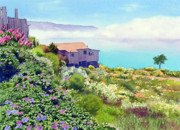 California Coast Paintings - Big Sur Cottage by Mary Helmreich