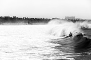 Ocean Black And White Prints Prints - Big Surf at Santa Monica Print by John Rizzuto
