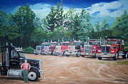 Stella Sherman Framed Prints - Big Trucks Framed Print by Stella Sherman