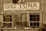 Restaurant Sign Prints - Big Tuna Restaurant and Raw Bar in sepia Print by Suzanne Gaff
