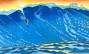 Surfing Painting Framed Prints - Big Wave Framed Print by Douglas Simonson