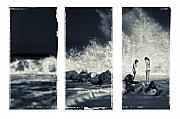 Sea View Art - Big wave triptych by Silvia Ganora