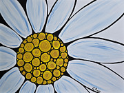Black And White Floral Art - Big White Daisy by Sharon Cummings