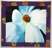Quilt Tapestries - Textiles Originals - Big White Flower by Grace Matthews