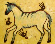 Primitive Art Prints - Big Yellow Lascaux Horse Print by Carol Suzanne Niebuhr