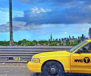 New York City Skyline Digital Art Framed Prints - Big Yellow Taxi Framed Print by Marianne Campolongo