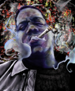 Rapper Paintings - Biggie - Burning Lights 5 by Reggie Duffie