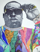 Pointalism Framed Prints - Biggie Biggie Biggie Framed Print by KeMonee Casey