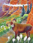 Glacier National Park Paintings - Bighorn in the Beargrass by Harriet Peck Taylor
