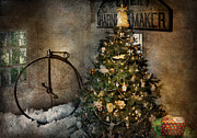 Penny Farthing Prints - Bike - I wanna bike for Christmas  Print by Mike Savad