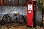 Bicyclists Posters - Bike - Two Bikes and a Gas Pump Poster by Mike Savad