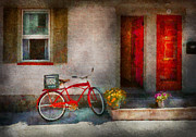 Bicyclists Prints - Bike - Welcome doors open  Print by Mike Savad