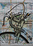 Linoluem Drawings Originals - Bike 2 On Map by William Cauthern