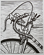 Lino Print Posters - Bike 2 Poster by William Cauthern