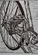 Linoluem Framed Prints - Bike 3 Framed Print by William Cauthern