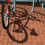 Linda Apple Painting Metal Prints - Bike and Bricks  Metal Print by Linda Apple