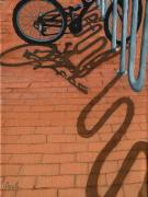 Bicycles Paintings - Bike and Bricks No.2 by Linda Apple