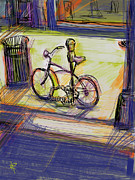 Los Angeles Mixed Media Prints - Bike at Rest Print by Russell Pierce