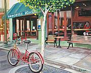 Coffee Paintings - Bike at the Coffee Shop by Colleen Proppe