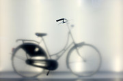 Frosted Glass Posters - Bike Behind Frosted Glass Poster by MattJeacock