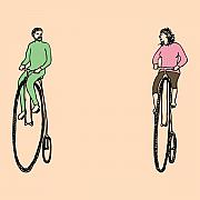 Bicycle Drawings Posters - Bike Buddies Poster by Karl Addison