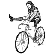 Lady Artwork Drawings Prints - Bike Fun Print by Karl Addison