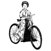Lady Artwork Drawings Prints - Bike Geisha Print by Karl Addison
