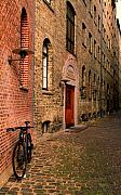 Copenhagen Denmark  Digital Art Prints - Bike in Copenhagen alley Print by Alberta Brown Buller