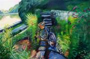 Vintage Bike Painting Originals - Bike in the Butterfly Garden by Colleen Proppe