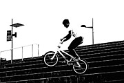 Tricks Posters - Bike Jumper Poster by Kenneth Mucke