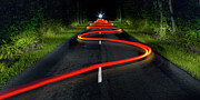 The Way Forward Posters - Bike Leaving Red Light Trails Poster by Christophe Kiciak