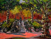 Bicycling Paintings - Bike Park by Art Nomad Sandra  Hansen