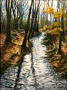 Brook  Pastels Metal Prints - Bike Path Brook Metal Print by Jack Skinner